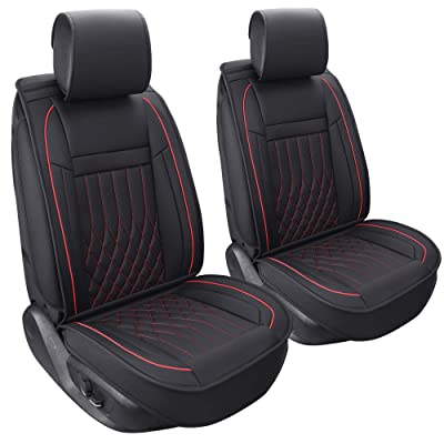 Aierxuan 2 Car Seat Cover Front Seat with Waterproof Leather, Universal Fit for Most Sedan SUV and Truck (2 PCS Front, Black and Red): Automotive