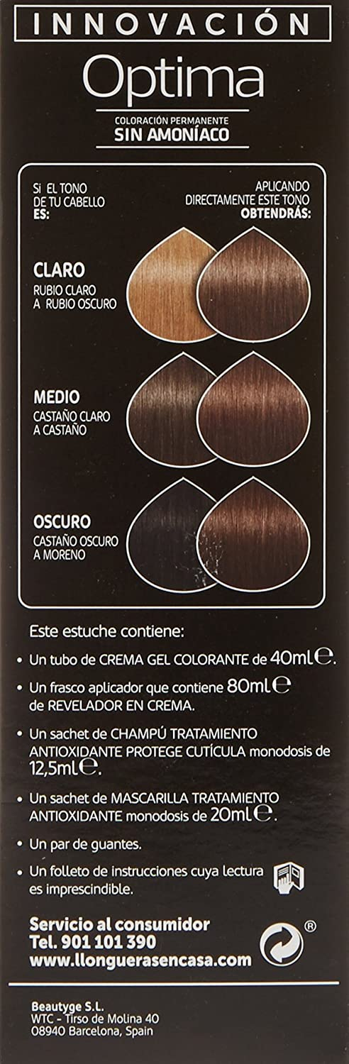 Llongueras Optima - Tinte, color 6.41-bombón chocolate, 200 gr: Amazon.es: Belleza