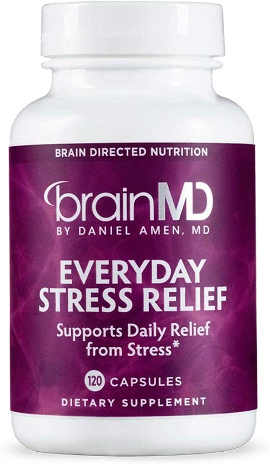Dr. Amen brainMD Everyday Stress Relief – 120 Capsules – Mood Adrenal Support Supplement, Promotes Calm, Relaxation Focus, Non-Drowsy – Gluten-Free – 30 Servings