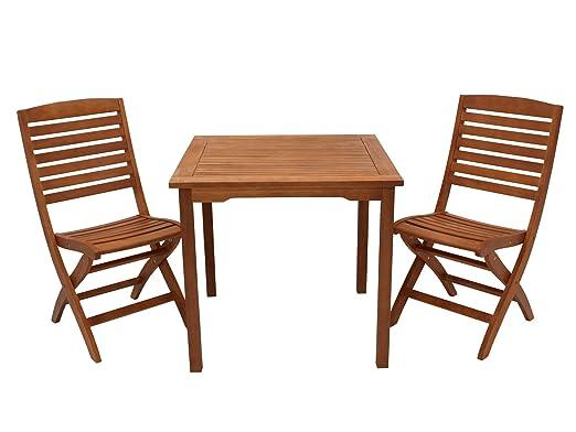 DEGAMO Capo - Conjunto de Muebles de jardín (3 Piezas, Madera de ...