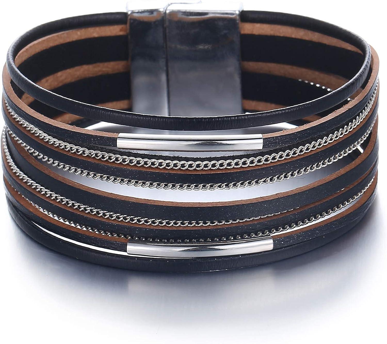 FINETOO Multi-Layer Leather...
