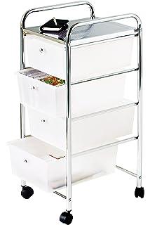 premier housewares carrello con 4 cassetti telaio cromato 81 x 39 x 33 cm