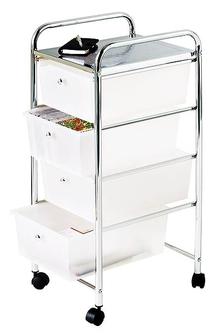 Premier Housewares - Carrito de baño, 4 cajones de plástico, 79 x 39 x 33 cm, color blanco y plateado: Amazon.es: Hogar