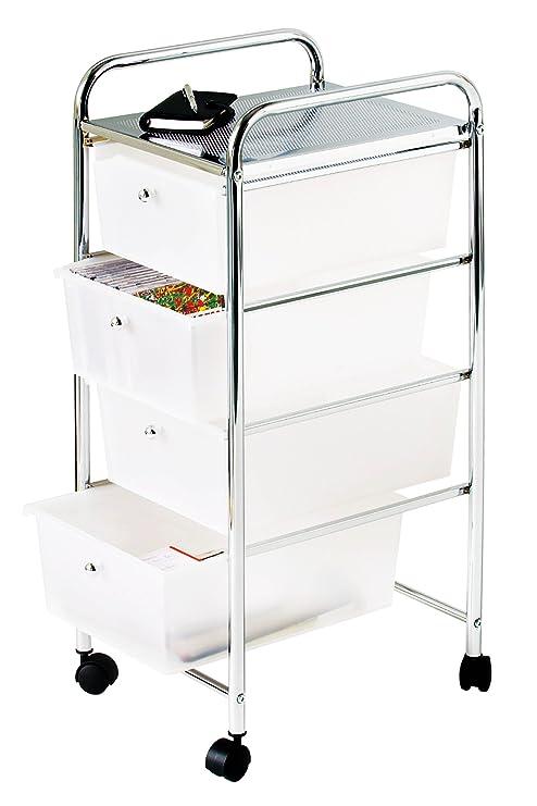 Premier Housewares - Carrito de baño, 4 cajones de plástico, 79 x 39 x 33 cm, Color Blanco y Plateado