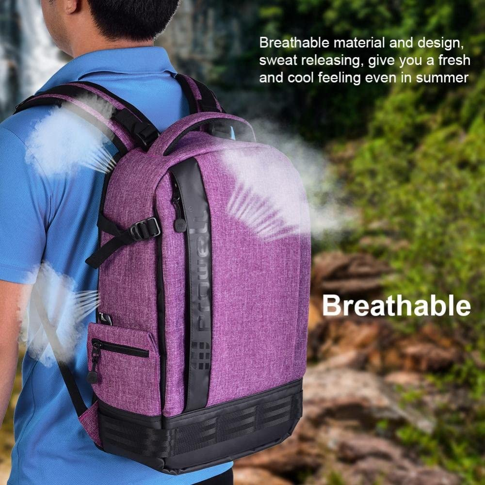 Acouto PROWELL Waterproof Camera Backpack Shockproof DSLR Travel Camera Padded Bag Backpack for Canon Olympus Purple Sony Samsung,Pentax Cameras Nikon Removable Interior
