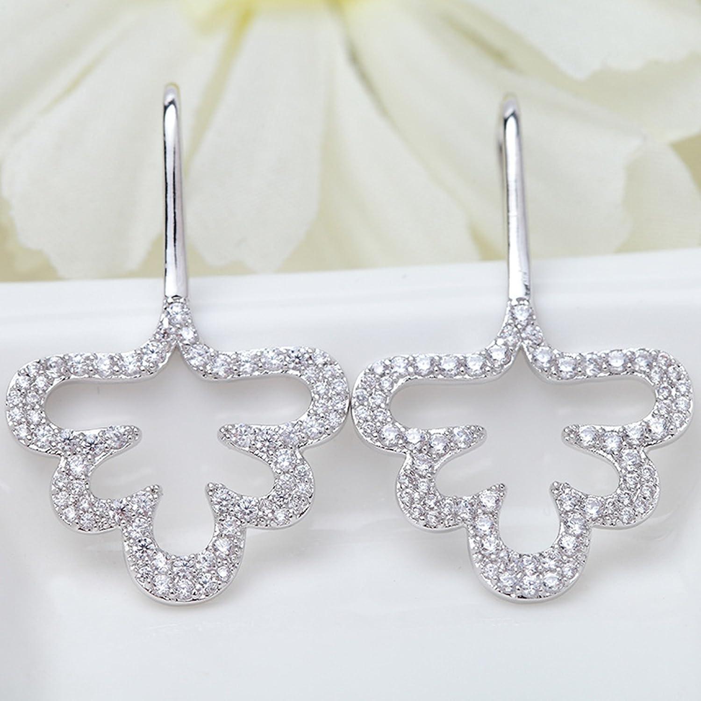 Beydodo Gold Plated Earrings Stud for Womens White Strip Cubic Ziconia Earrings Wedding Earrings
