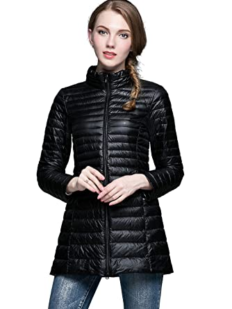 b5abb3e760e3 Amazon.com  NIELLO Women s Ultra Light Packable Long Down Jacket Outwear  Zip Down Coats Large