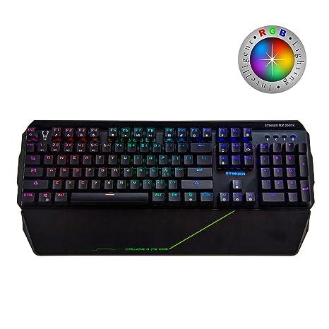 Woxter Stinger RX 2000 K - Teclado Gaming Mecánico, Estructura de Aluminio, Micro Switch, Led RGB Cada tecla, Cable de Nylon, Compatible ...