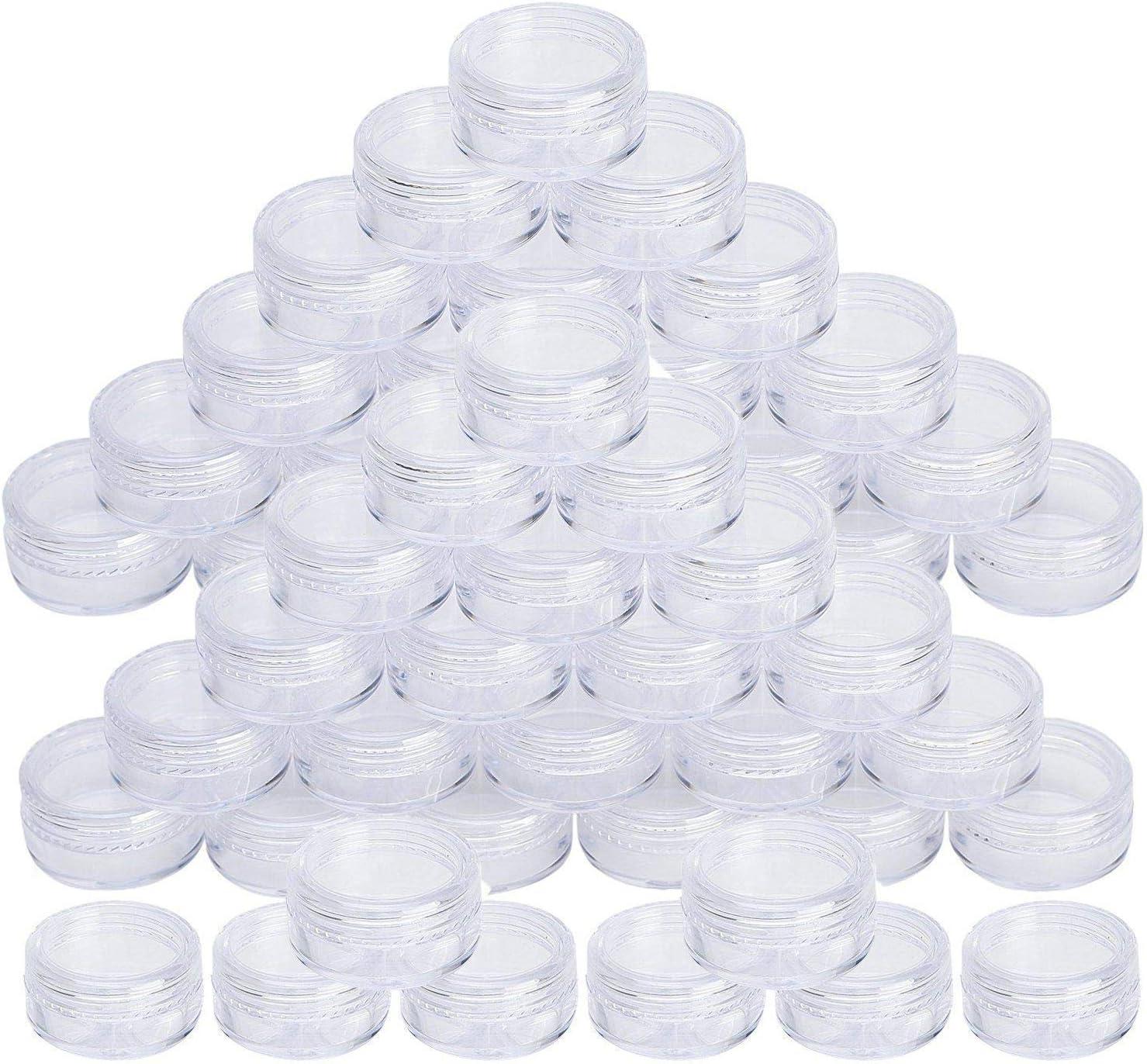 50 pcs 5 ml Envases Cosmetica Vacío Pequeño Botes Cosméticos Plástico Transparente Viaje Muestra con Tapa para Bálsamo Labial Crema Loción Polvos Sombras de Ojos Arenas y Cuentas