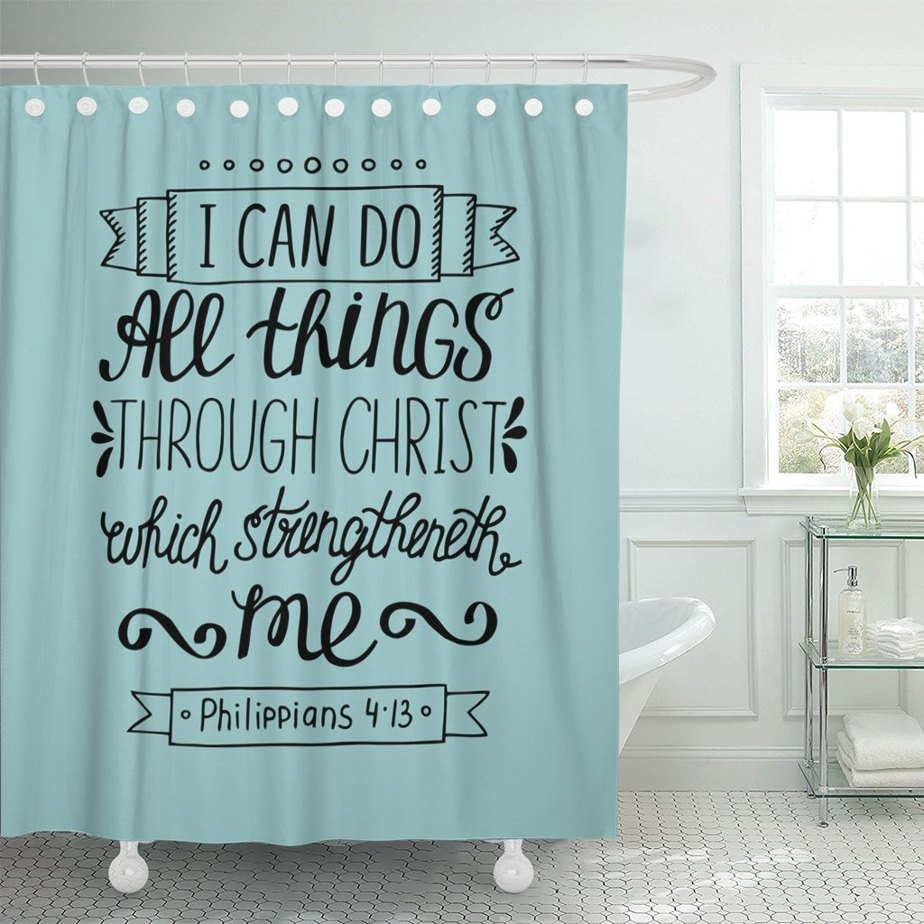 VaryHome Shower Curtain Hand Lettering Can All Things Through Christ Biblical Christian in the New Testament Scripture Modern Waterproof Polyester Fabric 72 x 72 inches Set with Hooks