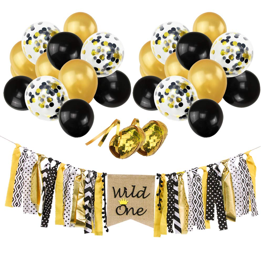 """Where The WILD ONE Are Party Banner Balloons Set, 12"""" Gold Black Confetti Latex Balloons Wild One Highchair Banner for Baby First Birthday Decorations Baby Shower Photo Props"""