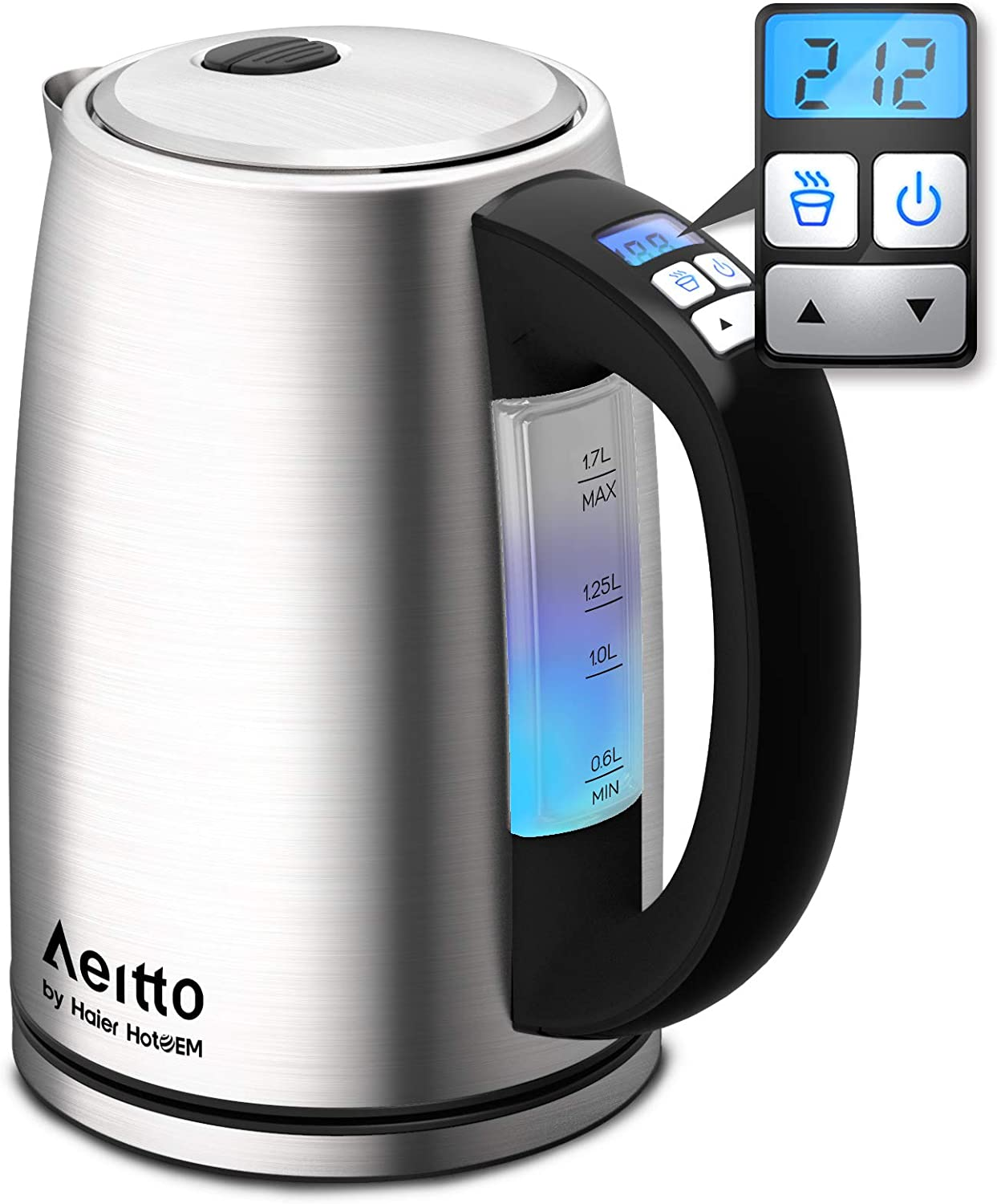 Electric Kettle, Stainless Steel Variable Temperature Control Water Kettle, Cordless Tea Heater BPA-Free Fast Boiling Keep Warm, Boil-Dry Protection, 6 Color Lights, 1500W 1.7L, Aeitto