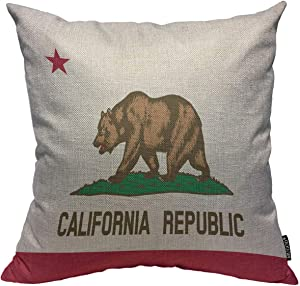 Mugod Throw Pillow Cover Bear State of California Flag Republic Home Decorative Square Pillow Case for Men Women Boy Gilrs Bedroom Livingroom Cushion Cover 18x18 Inch,Beige Brown Pillowcase