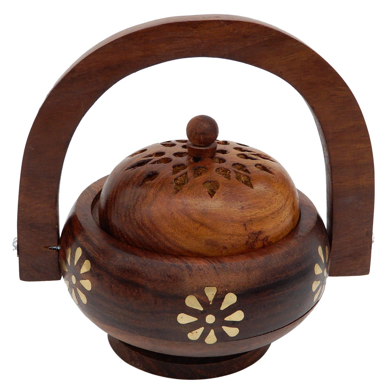 木製香炉、チャコールBurner with Handle with真鍮Inlay、Incense Holder、チャコールホルダー B071XYDV5L