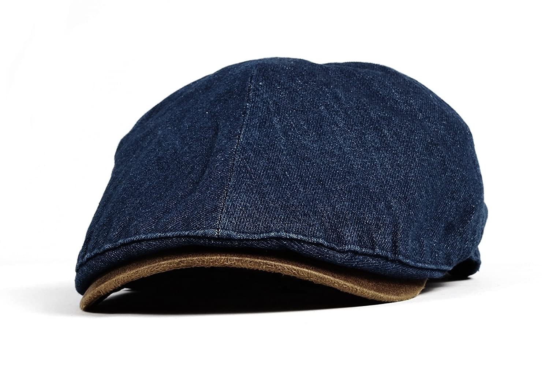 WITHMOONS Denim Newsboy Hat faux leather brim Flat Cap SL3017 SL3017Black