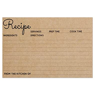 Recipe Cards - Size 4x6 - Kraft Brown Card for Rustic Kitchen or Bridal Shower - Set of 25