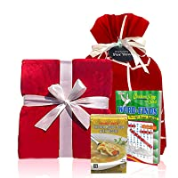 Get Well Gifts Box - Includes Luxury Blanket Wellness Tea Chicken Soup and Word Find Book | Get Well Soon Gifts for Women | Get Well Gifts for Men Presented in Beautiful Gift Box with Ribbon (Red)