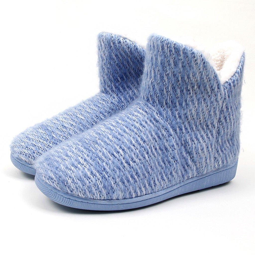 Zapatillas Altas Para Ayudar a Las Mujeres de Algodón Grueso Invierno casa Zapatos de Suela Suave Antideslizantes Interiores y Exteriores EUR:38-39|Azul