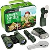Explorer Kit for Kids - Camping Gear & Outdoor Exploration Gift - Inc: Binoculars, Fan, Magnifying Glass, Crank Flashlight, 5
