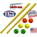 "WIFFLE 32"" Bat & Green, Orange & Yellow Baseballs Matty's Toy Stop Set Bundle - 8 Pack"