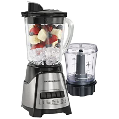 Hamilton Beach (58149) Blender with Glass Jar For Shakes & Smoothies, Multi function, Electric, Includes Chopper Attachment