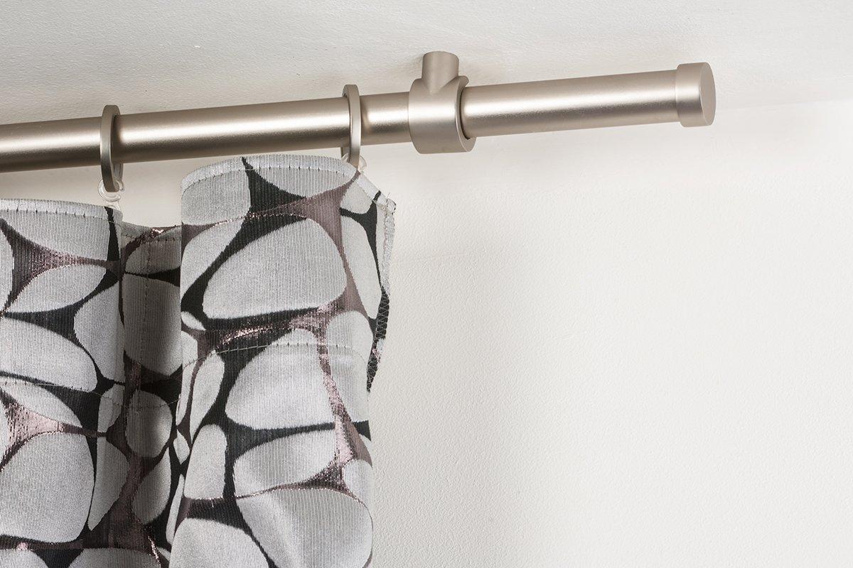 InCasa Gardinenstange Ø 20 mm, Länge  220 cm, Gebürsteter Edelstahl – Komplett