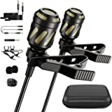 PoP voice 18 Feet Lavalier Microphone, 2 Pack Lapel Microphones for iPhone,Android, PC,Computer,Laptop,Camera,Professional Co