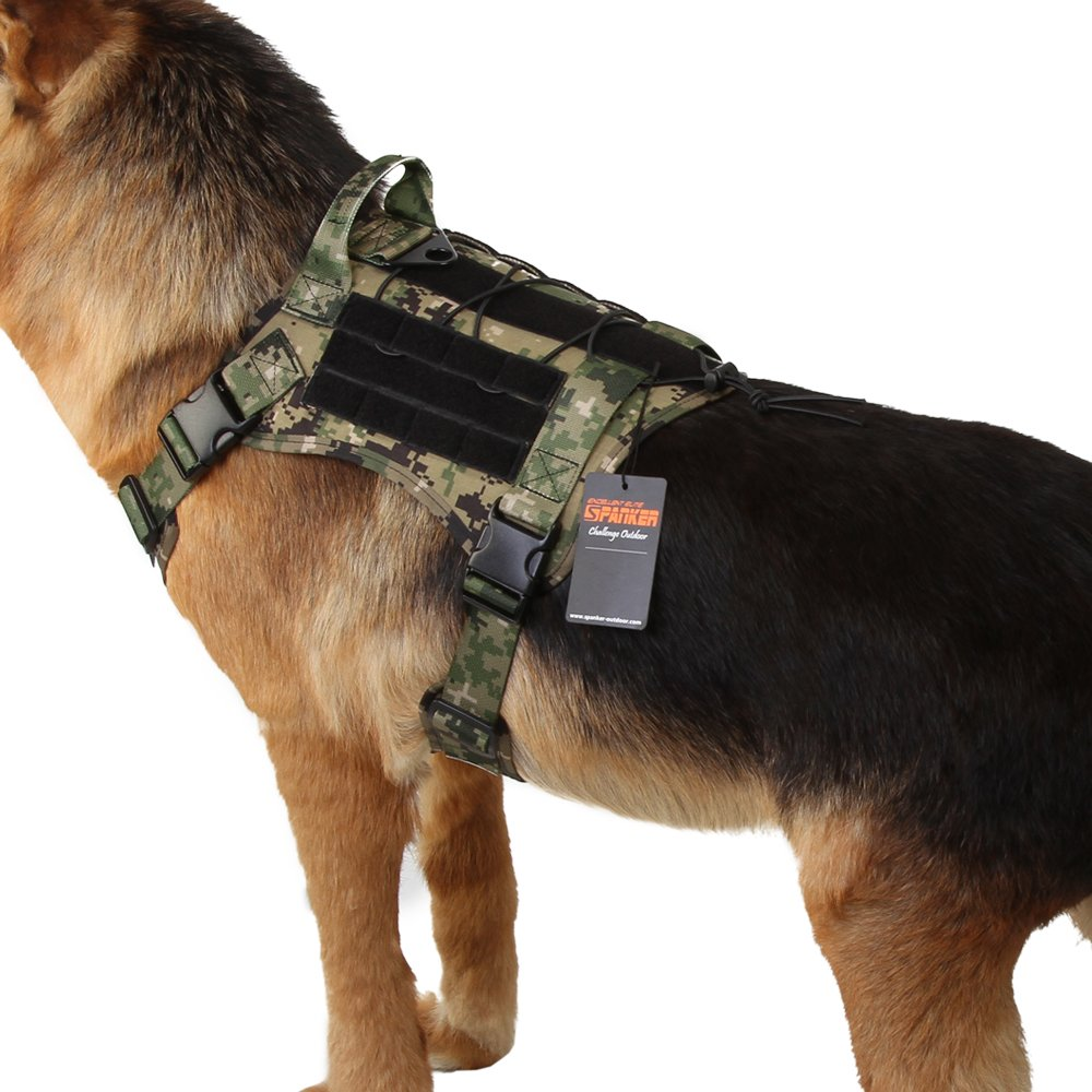 AOR2 L AOR2 L Excellent Elite Spanker Tactical Service Dog Vest Training Hunting Molle Nylon Water-resistan Military Patrol Adjustable K9 Dog Harness with Handle(AOR2-L)