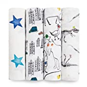 aden + anais Classic 4 Piece Swaddle Baby Blanket, Color Pop