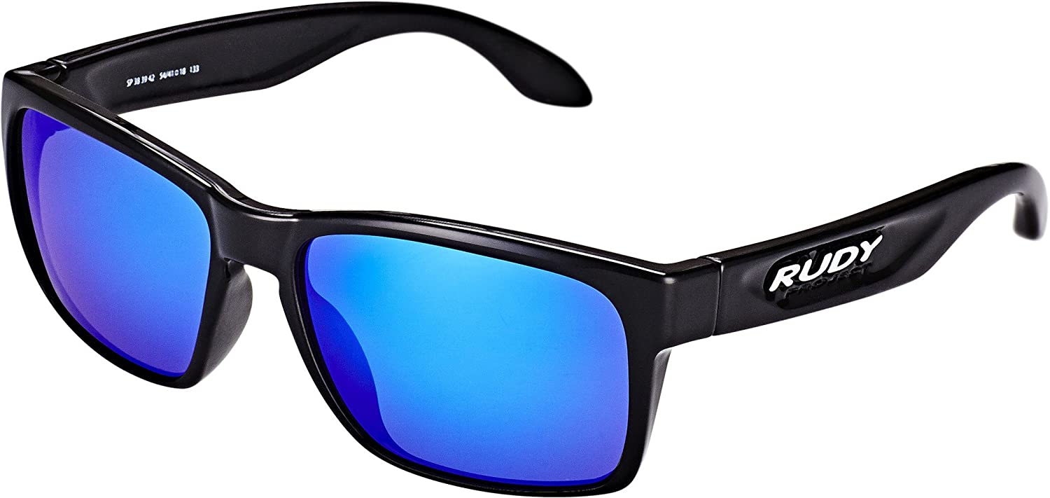 Rudy Project Spinhawk Slim Glasses schwarz Gloss Multilaser Blau 2018 Fahrradbrille