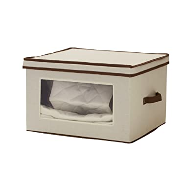 Household Essentials 547 Vision China Storage Box   Serving Piece China Storage with Quilted Pouches   Natural Canvas with Brown Trim