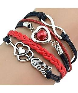 Imposes Armband Frauen Vintage Geflochtene Armbänder Lederarmband mit Unendlich Anhänger Herz