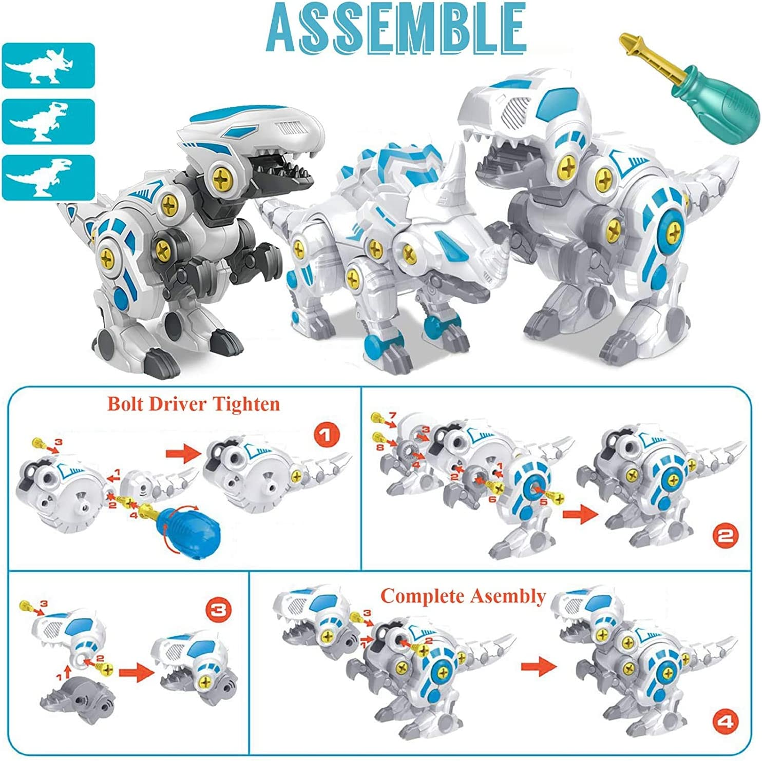 3 Pack DIY STEM Toys Building Learning Gifts Set with Screwdrivers for Kids 3-7 Years Old TEUVO Big Take/Apart/Dinosaur/Toys for Boys