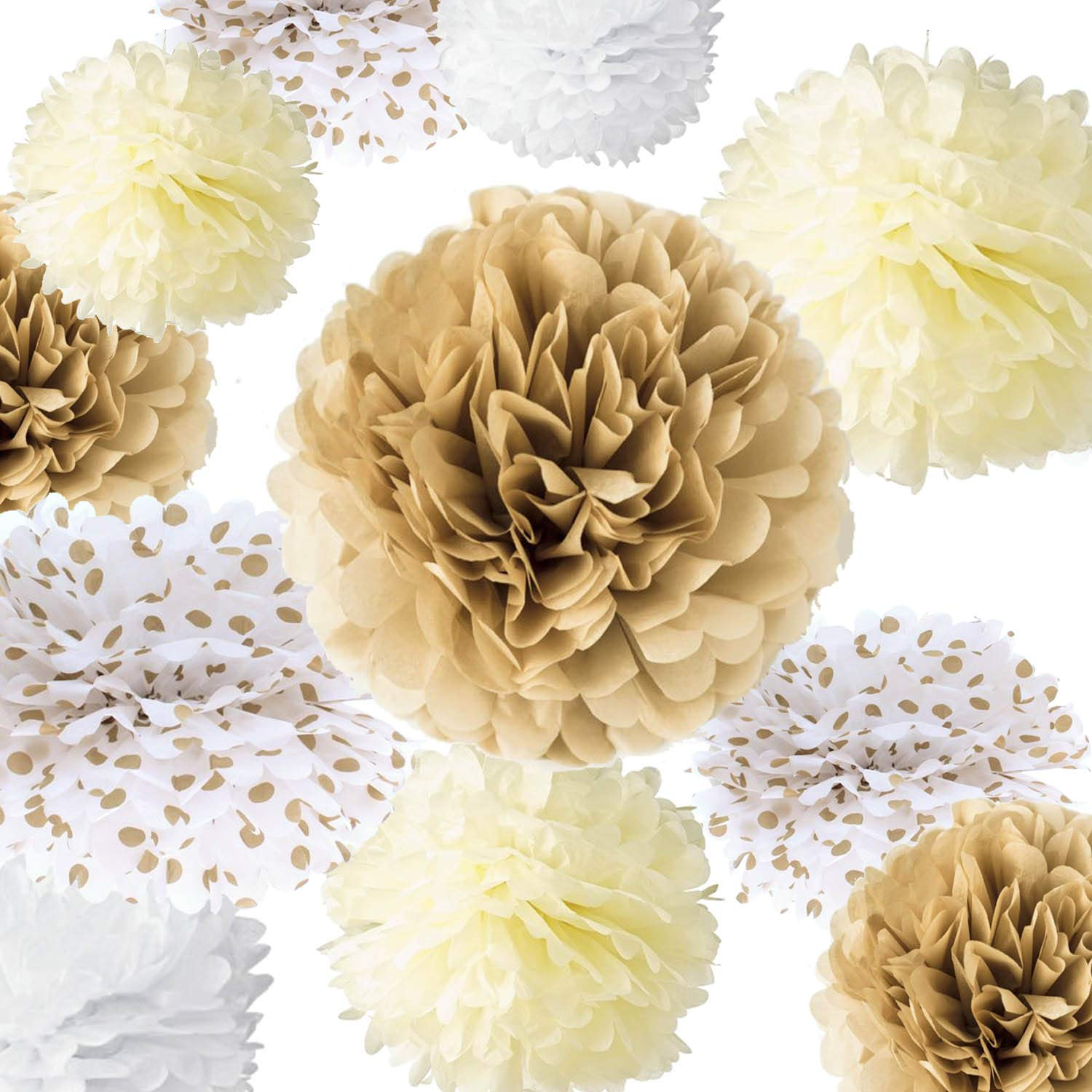 VIDAL CRAFTS 20 Pieces Tissue Paper Pom Poms Kit (14'', 10'', 8'', 6'' Paper Flowers) for Wedding, Birthday, Gender Neutral Baby Shower, Playroom or Nursery Decoration (champagne, ivory, white, polka dot) by Vidal Crafts for a perfect party