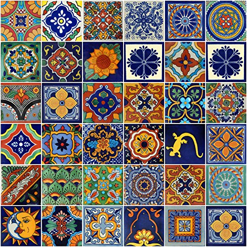 Color y Tradicion Mexican Tiles 4x4 Handpainted Hundred Pieces Assorted ()