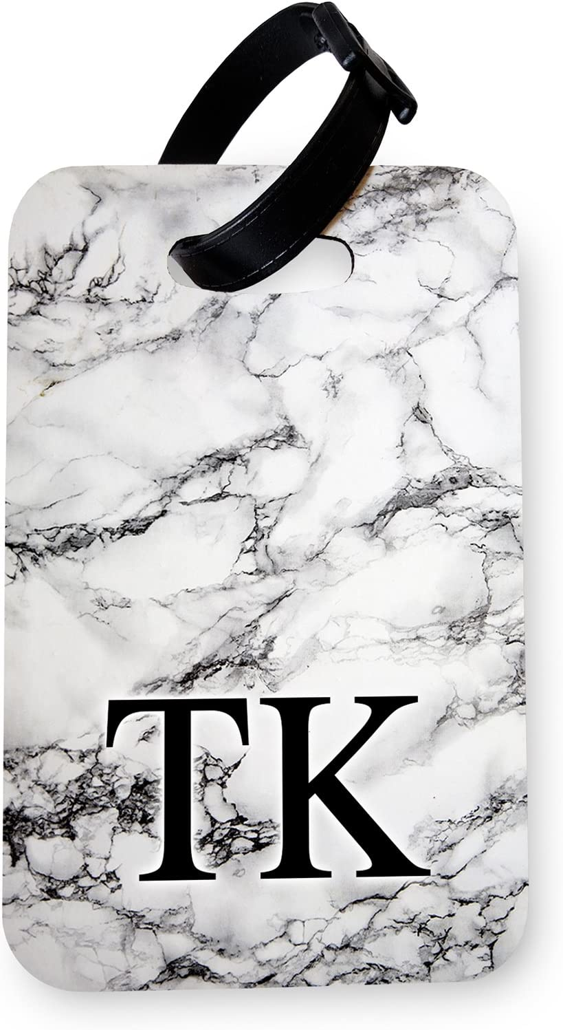 Holder//Luggage Tag Combo | Printed Art Faux Leather Passport Cover//Luggage Tag White Marble Monogram WTF Personalised