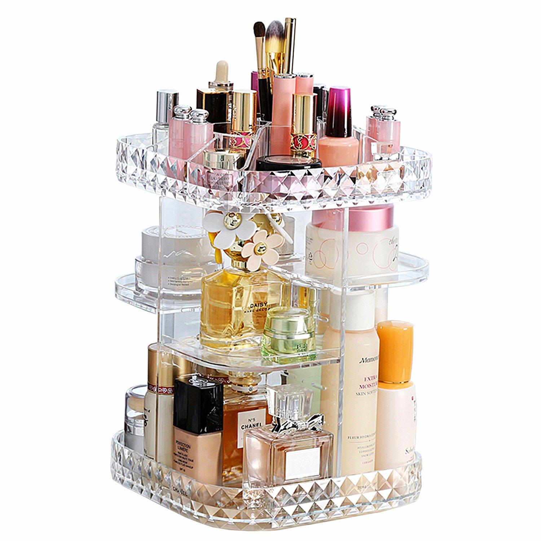 Makeup Organizer 360-Degree Rotating Cosmetic Storage Box, DIY Adjustable Large Capacity Cosmetics Display Case Square Makeup Shelf with Diamond Pattern RAY.KING