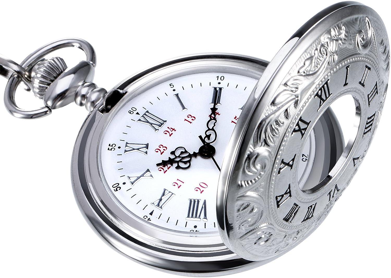 Reloj de bolsillo de cuarzo con números romanos clásico con cadena