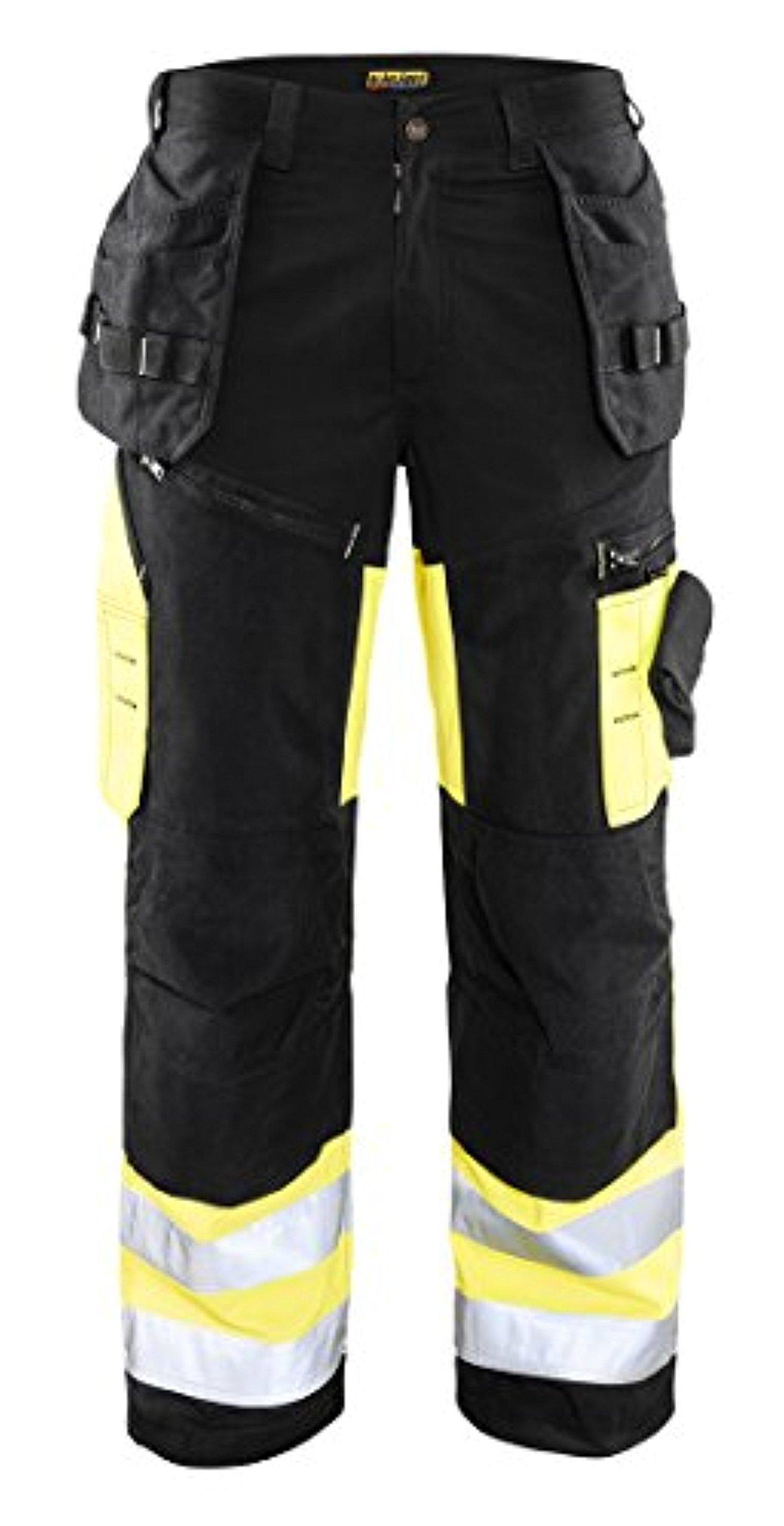 Blaklader X1600 HighVis Trouser Black/Yellow 32 32 & Work Bandana Bundle