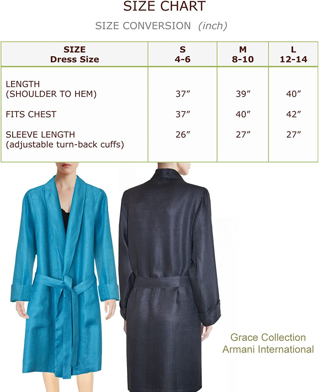 Tailored in Europe Lounge Robe Womens Knee Length Pure Sateen Linen