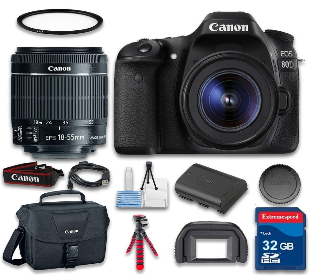 Canon EOS 80D Digital SLR Camera Wi-Fi Enabled with Canon EF-S 18-55mm f/3.5-5.6 IS STM Lens + Canon Camera Case + Starter Cleaning Kit + 32 GB SD Card - International Version by Celltime