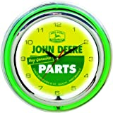 John Deere 15 Inch Double Neon Wall Clock - Genuine Parts Theme