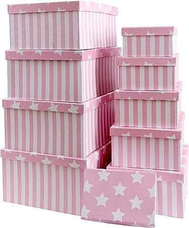 Caja de cartón para regalos o para almacenamiento, de cartón, con tapa, cartón estable con estrellas