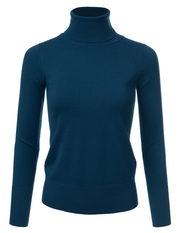 NINEXIS Womens Long Sleeve Turtle Neck Sweater Teal M