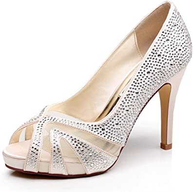 New Women Low Heel Bridal Shoes Floral Satin Lace Wedding Strappy Pumps Size