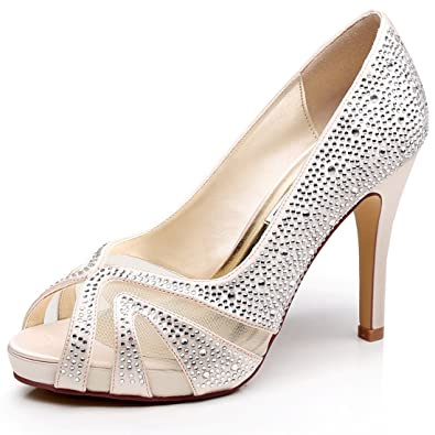 fb89255bffa LUXVEER Satin Dance Shoes with Silver Rhinestone Medium Heel 4inch-Peep Toe  (Champagne)