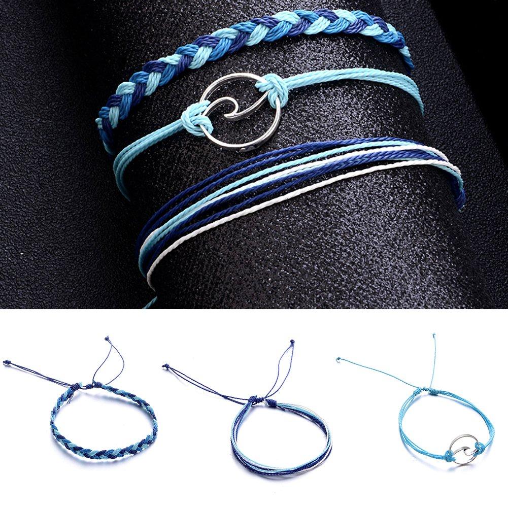 tailor13me 3Pcs//Set Multi layer Women Rope Boho Beach Anklet Handmade Sea Wave Bracelet Shape Adjustable