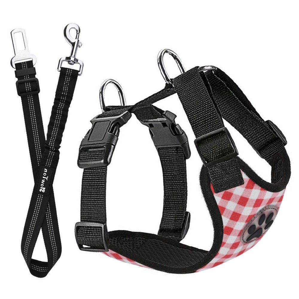 SlowTon Dog Car Harness Seatbelt Set, Pet Vest Harness with Safety Seat Belt for Trip and Daily Use Adjustable Elastic Strap and Multifunction Breathable Fabric Vest in Vehicle for Dogs LT-PET8-RN-XS