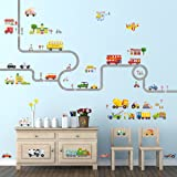 Decowall DA-1404P1405 The Road and Transports Kids Wall Decals Wall Stickers Peel and Stick Removable Wall Stickers for Kids Nursery Bedroom Living Room