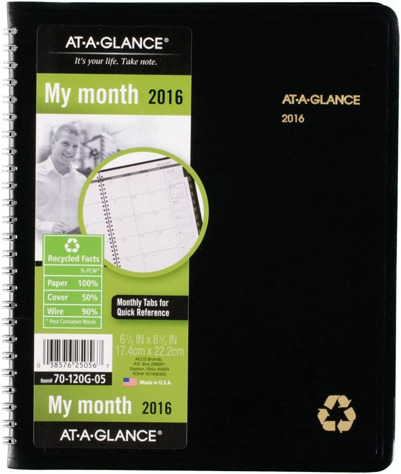 """Recycled 2020 At-A-Glance 70-120G Monthly Planner 6-7//8 x 8-3//4/"""""""